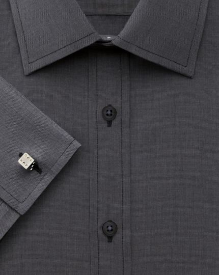 Extra slim fit end-on-end charcoal shirt
