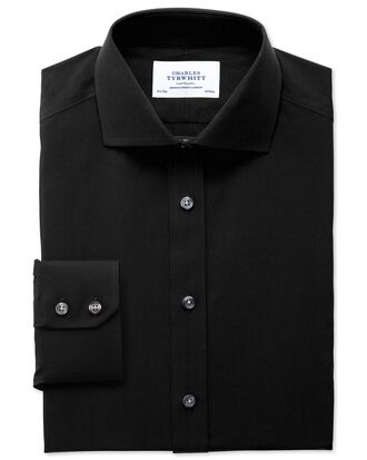 Extra slim fit cutaway non-iron poplin black shirt