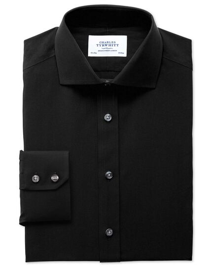 Extra slim fit spread collar non-iron poplin black shirt