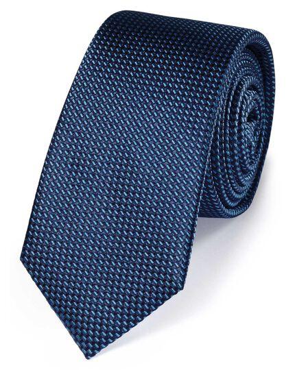 Blue silk slim textured semi plain classic tie