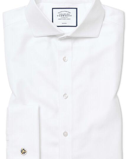 Chemise blanche extra slim fit sans repassage à chevrons et col cutaway
