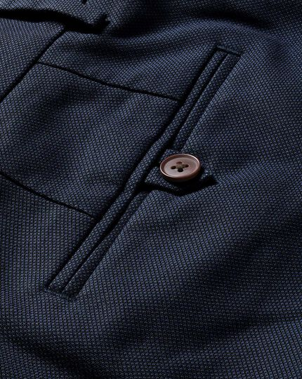 Pantalon bleu marine slim fit en tissu stretch sans repassage