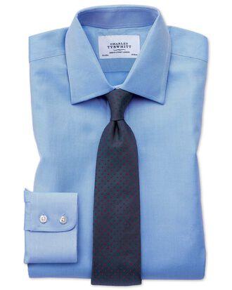 Chemise bleue en sergé de cavalerie de coton égyptien extra slim fit
