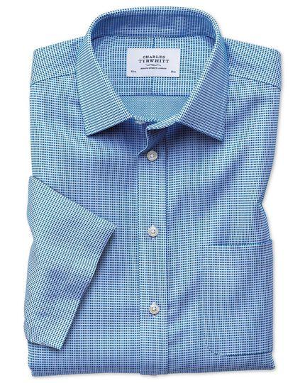 Slim fit non-iron textured short sleeve blue shirt