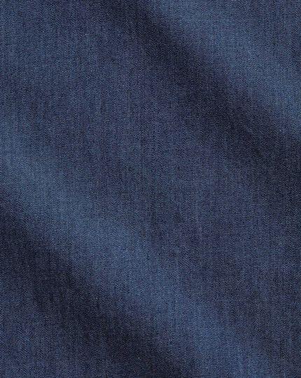 Extra slim fit semi-cutaway business casual indigo dark blue shirt