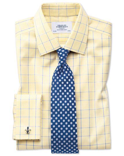 Classic fit non-iron Prince of Wales yellow and royal blue shirt