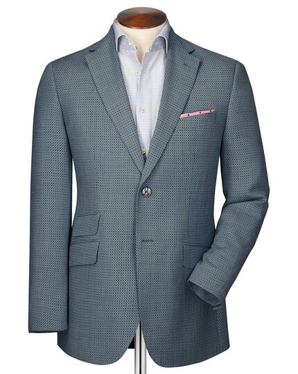 Slim fit grey birdseye wool jacket