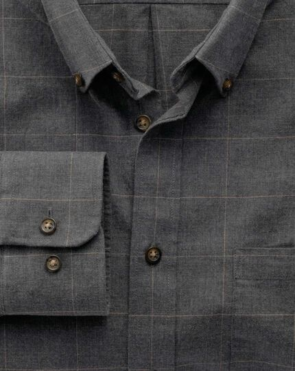 Classic fit dark grey check tweed look shirt
