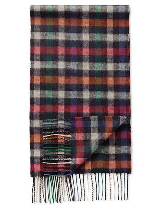 Multi block check cashmere and merino scarf