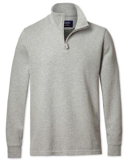 Light grey half zip jersey sweater