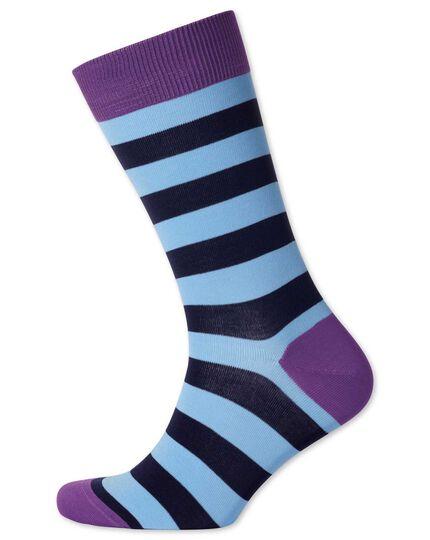 Sky and navy stripe socks