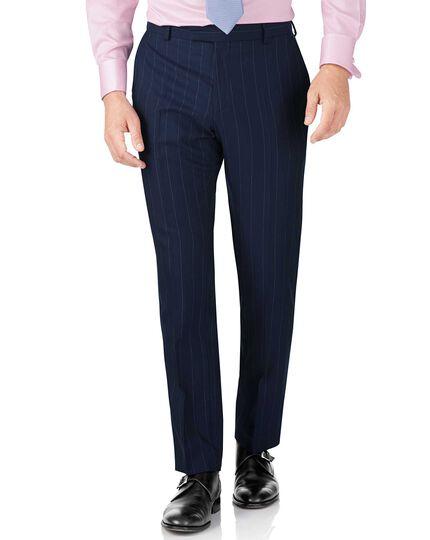 Navy stripe slim fit British serge luxury suit pants