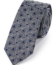 Navy and white silk slim geometric classic tie