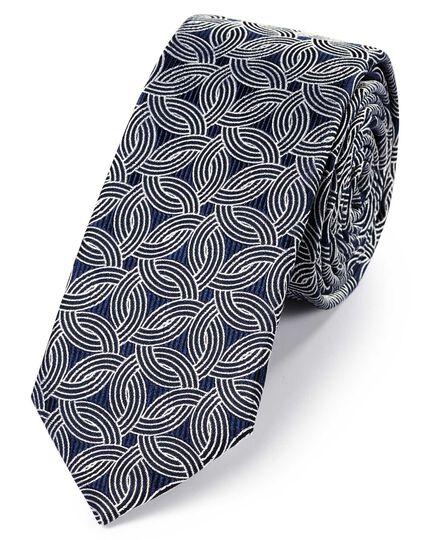 Navy and white silk slim geometric classic tie