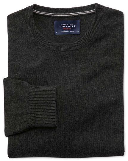 Charcoal cotton cashmere crew neck jumper