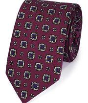 Luxuriöse italienische Krawatte aus Wolle in Beerenrot mit Print