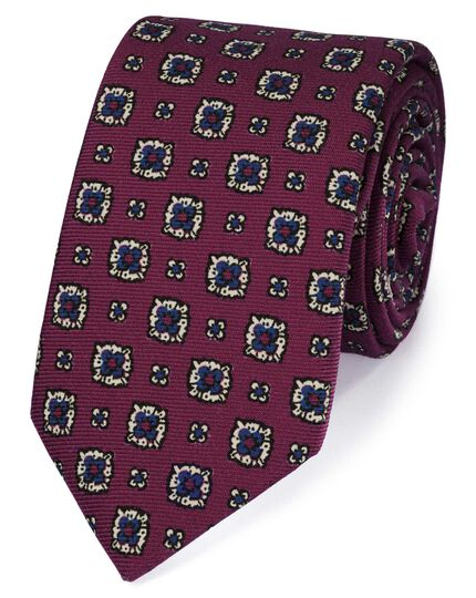 Berry wool printed wool Italian luxury tie