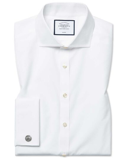 Super slim fit spread collar non-iron poplin white shirt