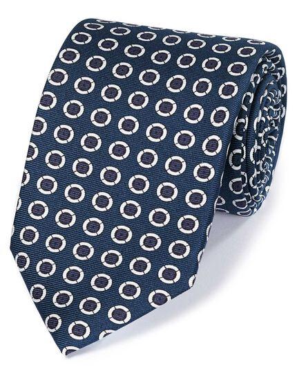 Navy and white silk printed circle English luxury tie