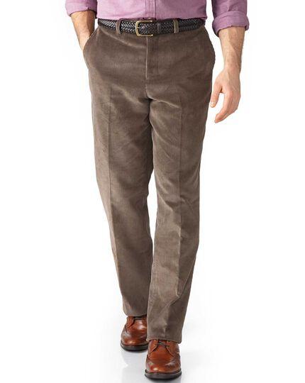 Beige classic fit jumbo cord pants