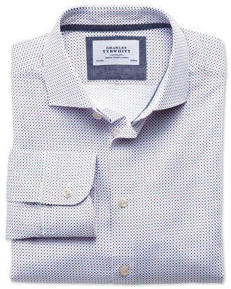Classic Fit Business-Casual Hemd mit Semi-Haifischkragen in Blau und Rot mit Punkt-Print