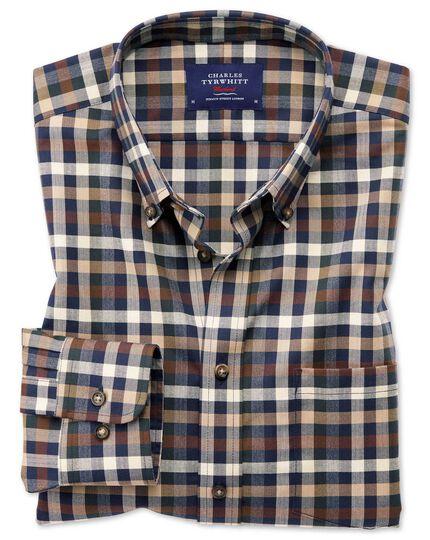 Bügelfreies Extra Slim Fit Twill-Hemd in Braun mit Bunten Karos