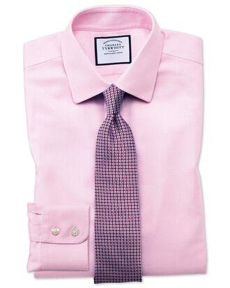 Chemise rose en tissage échelle coupe droite sans repassage
