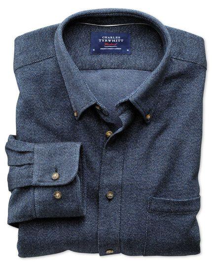 Slim fit dark blue donegal shirt