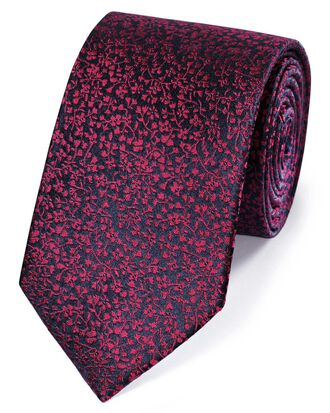 Navy and berry silk floral classic tie