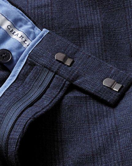 Mid blue slim fit cotton flannel trouser