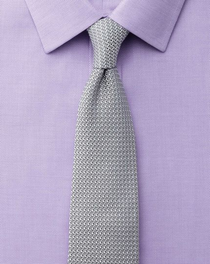 Extra slim fit non-iron micro spot lilac shirt