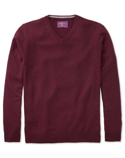Wine cashmere v-neck sweater