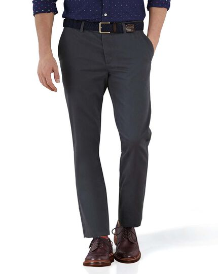 Pantalon chino charcoal extra slim fit à devant plat