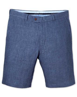 Blue slim fit linen shorts