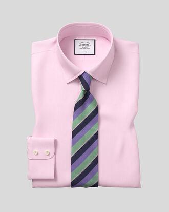 Chemise rose en twill coupe droite sans repassage