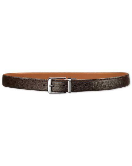 Brown and tan reversible belt
