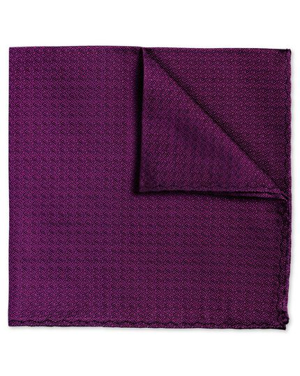 Fuchsia textured plain classic pocket square