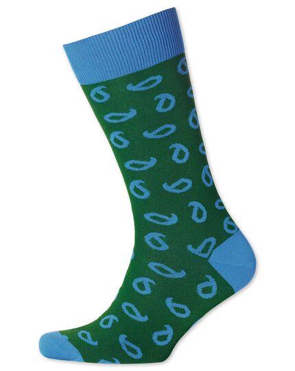 Green paisley socks