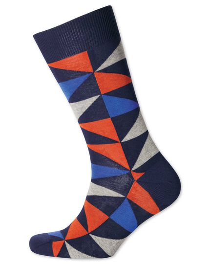 Chaussettes orange et bleues à triangles multicolores