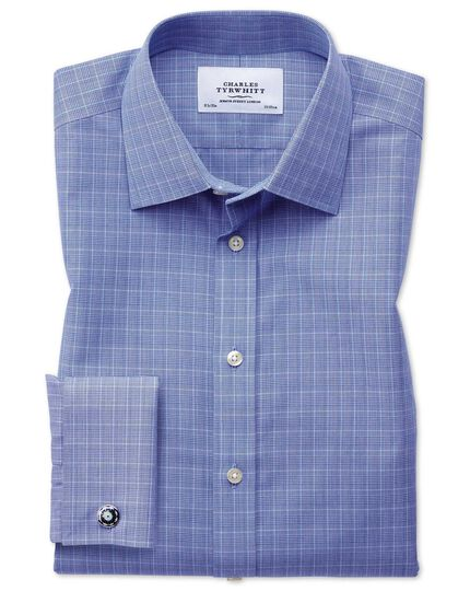 Chemise bleue Prince de Galles slim fit sans repassage