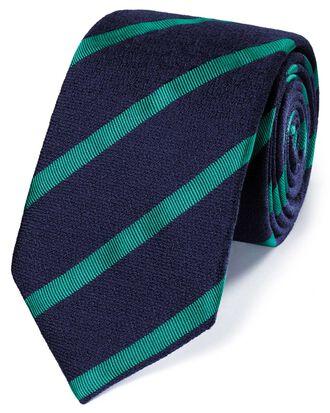 Cravate classique bleu marine et verte en laine mélangée à rayures