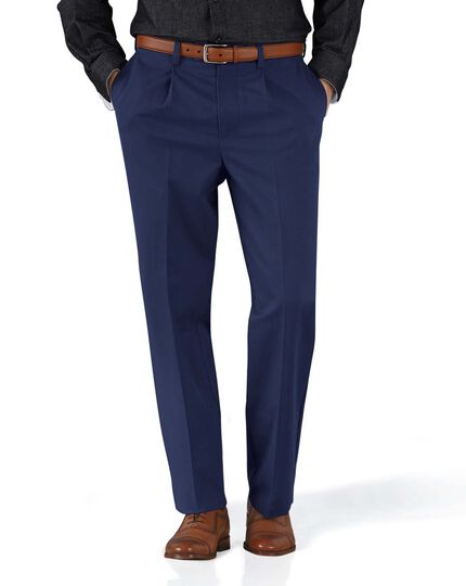 Marine blue classic fit single pleat non-iron chinos