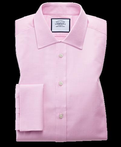 Slim fit Egyptian cotton trellis weave pink shirt