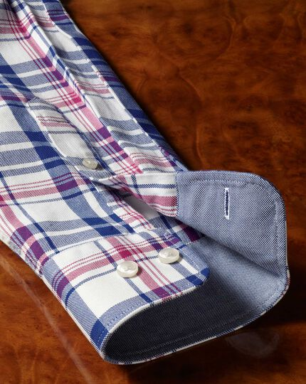Classic fit button-down washed Oxford royal and pink check shirt
