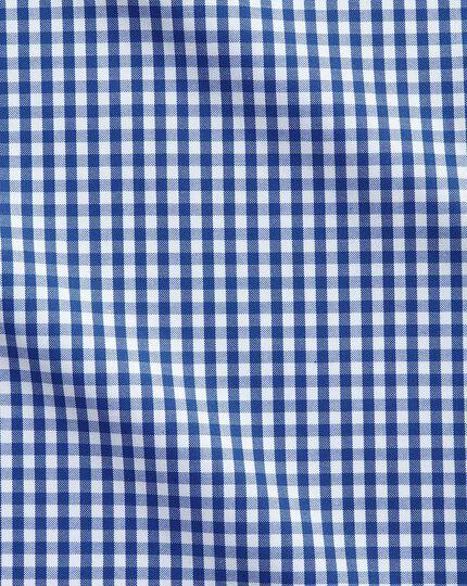 Bügelfreies Extra Slim Fit Business-Casual Hemd mit Button-down Kragen in Königsblau mit Karos