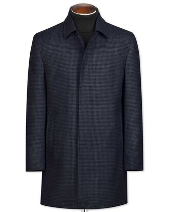 Navy patterned wool car coat