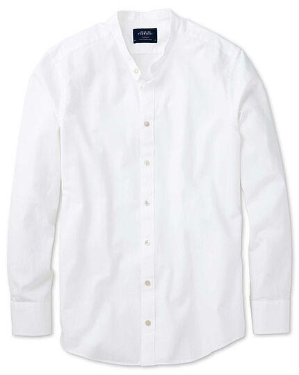 Slim fit collarless white shirt