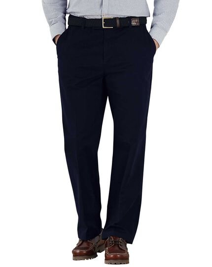 Navy classic fit flat front weekend chinos