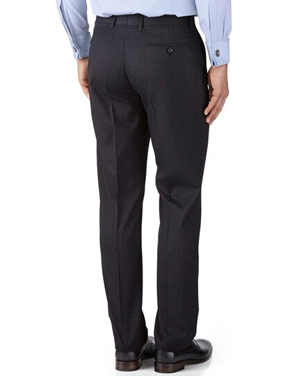 Charcoal classic fit end-on-end business suit pants