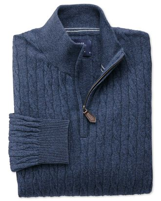 Indigo cotton cashmere cable zip neck sweater